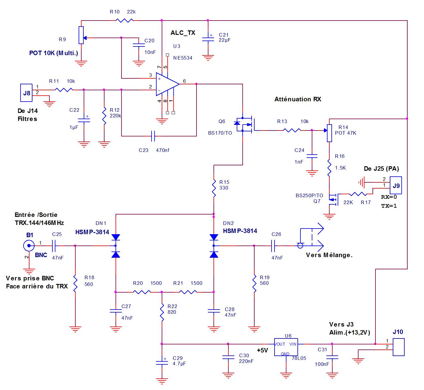 Fig.8- Atténuateur 30dB (RX) et ALC TX