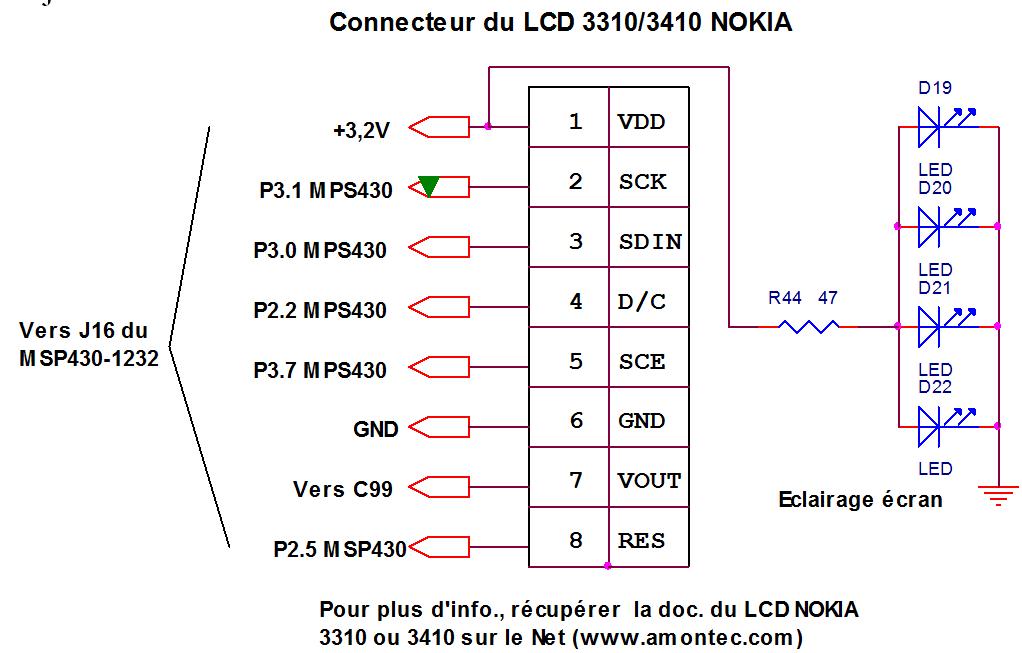 Câblage du connecteur LCD 3310 / 3410 nokia